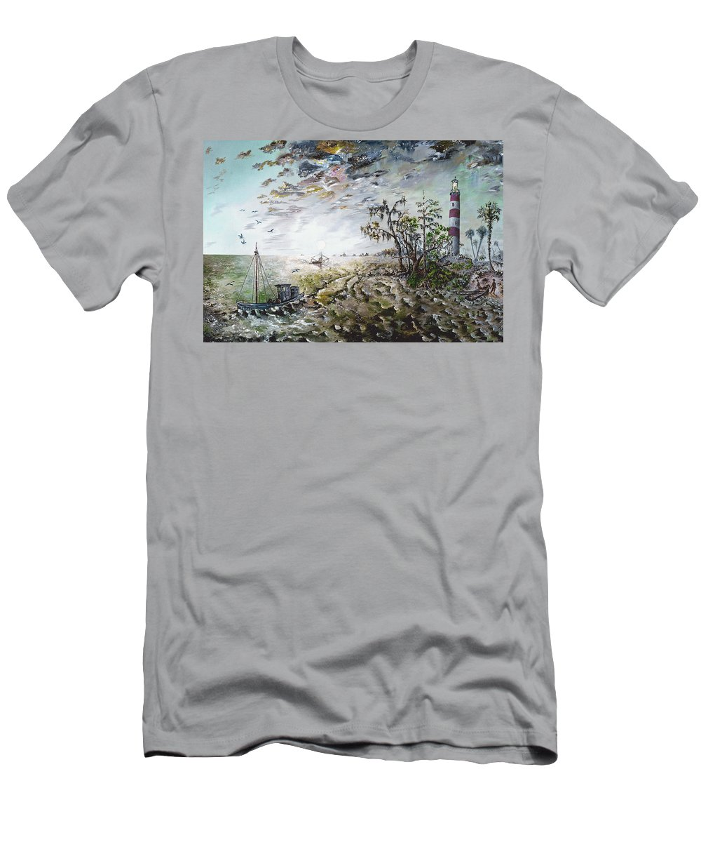 Lighthouse T-Shirt featuring the painting Sapelo Island by Richard Barham