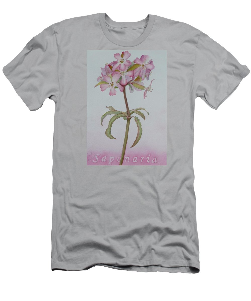 Flower Men's T-Shirt (Athletic Fit) featuring the painting Saponaria by Ruth Kamenev