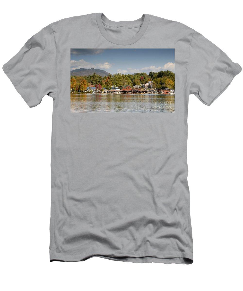 Saranac Lake New York Men's T-Shirt (Athletic Fit) featuring the photograph Saranac Lake by David Lee Thompson