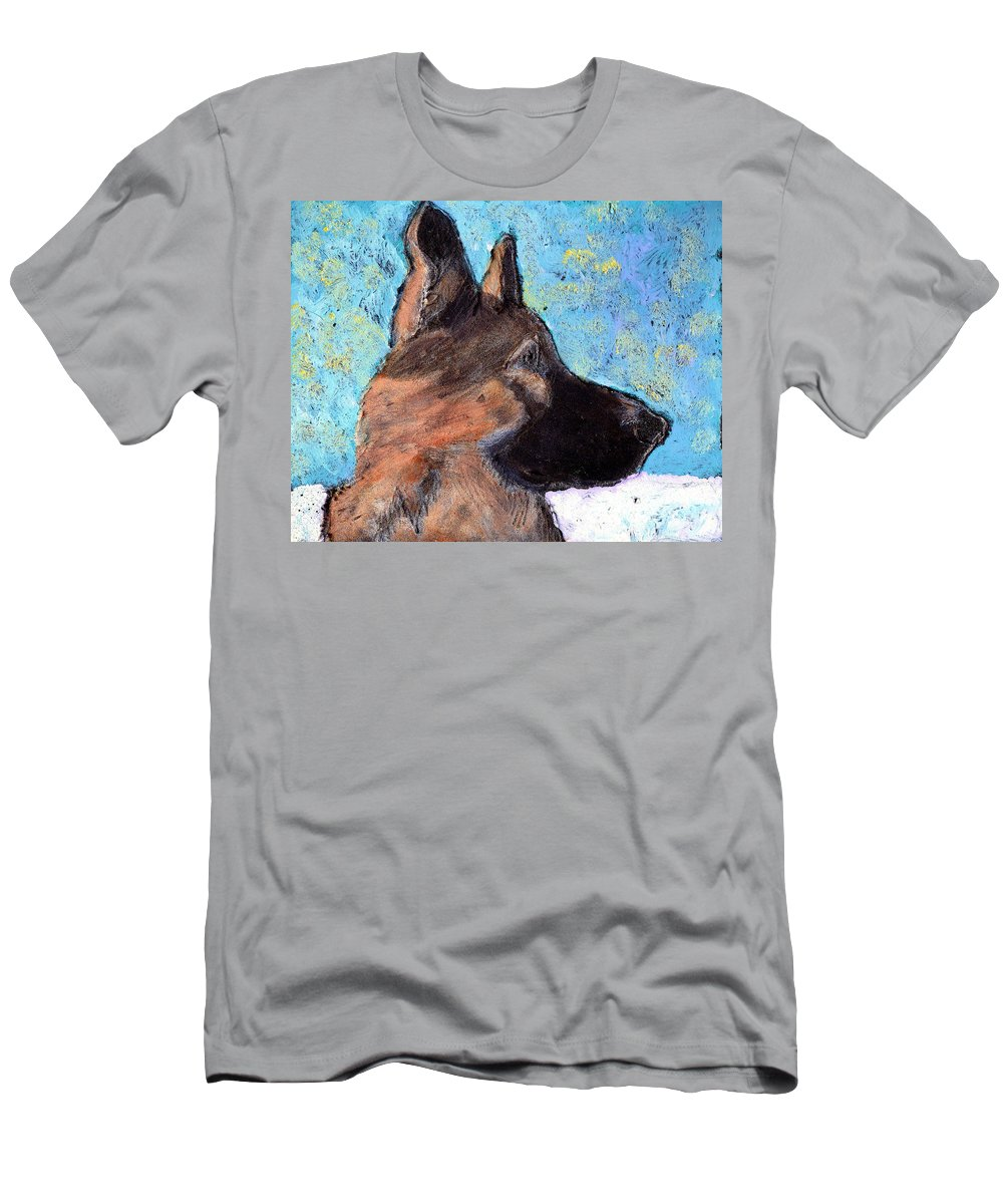 Dog Men's T-Shirt (Athletic Fit) featuring the painting Sarge II by Wayne Potrafka