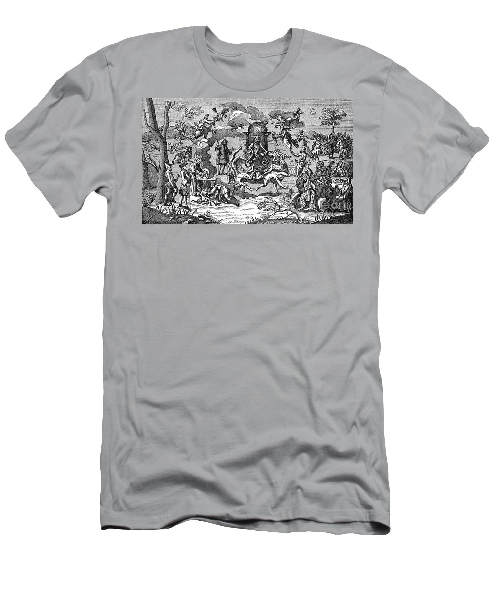 History Men's T-Shirt (Athletic Fit) featuring the photograph Satan With Cavorting Dancers, 18th by Science Source