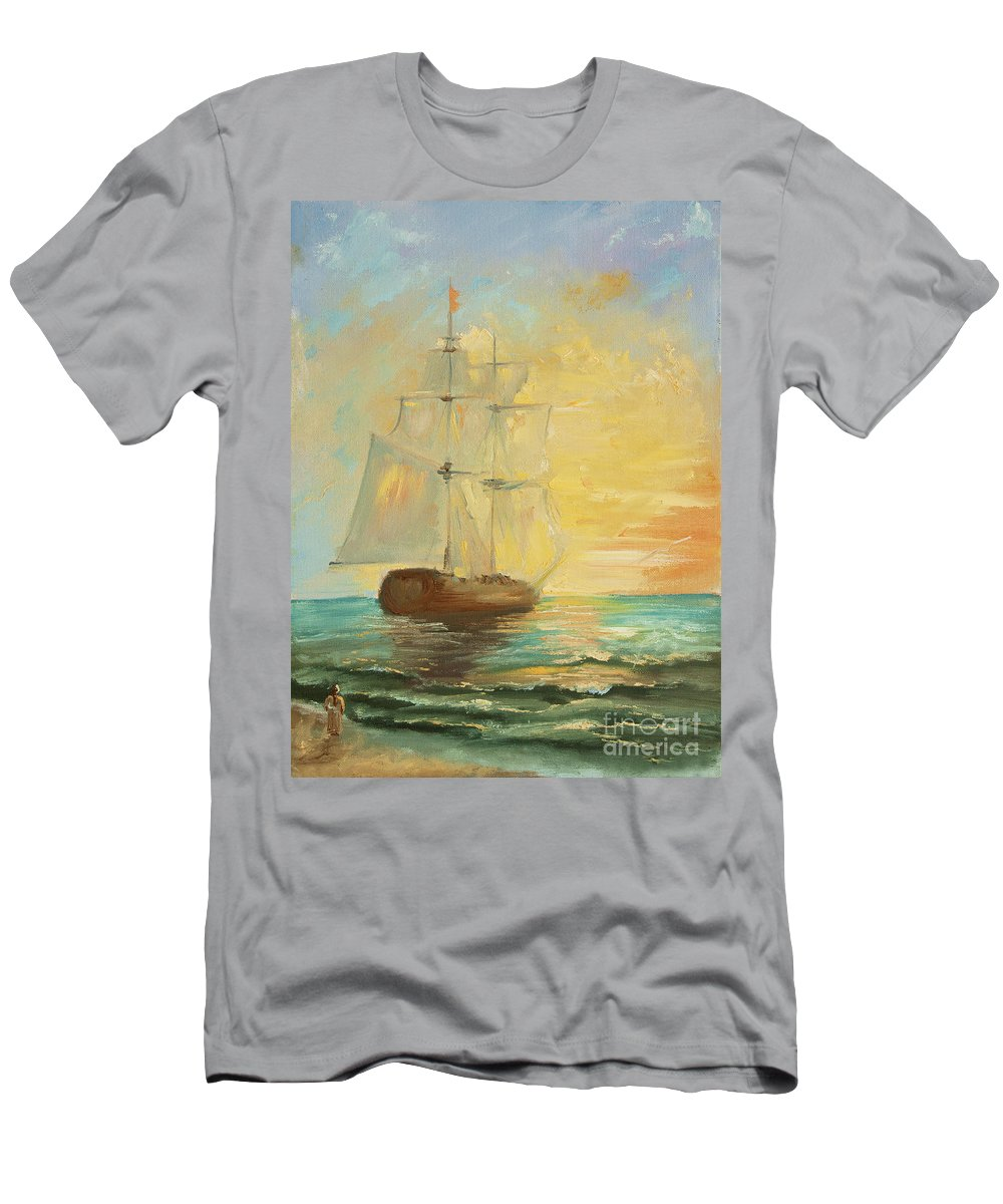 Original Men's T-Shirt (Athletic Fit) featuring the painting Say Goodbye by Kristian Leov