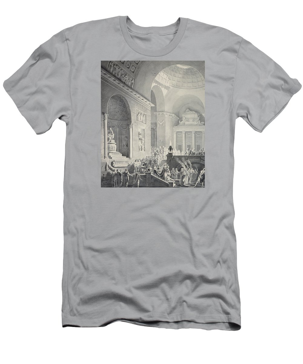 Classical Men's T-Shirt (Athletic Fit) featuring the drawing Scene In A Classical Temple Funeral Procession Of A Warrior by Joseph Charles Barrow