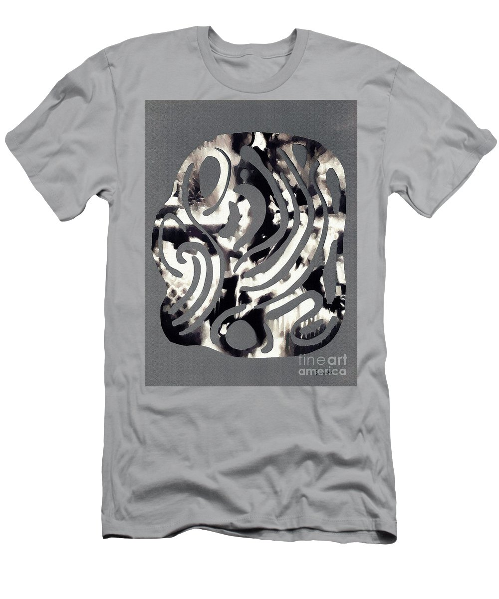 Curve Men's T-Shirt (Athletic Fit) featuring the mixed media Scissor-cut Abstraction by Sarah Loft