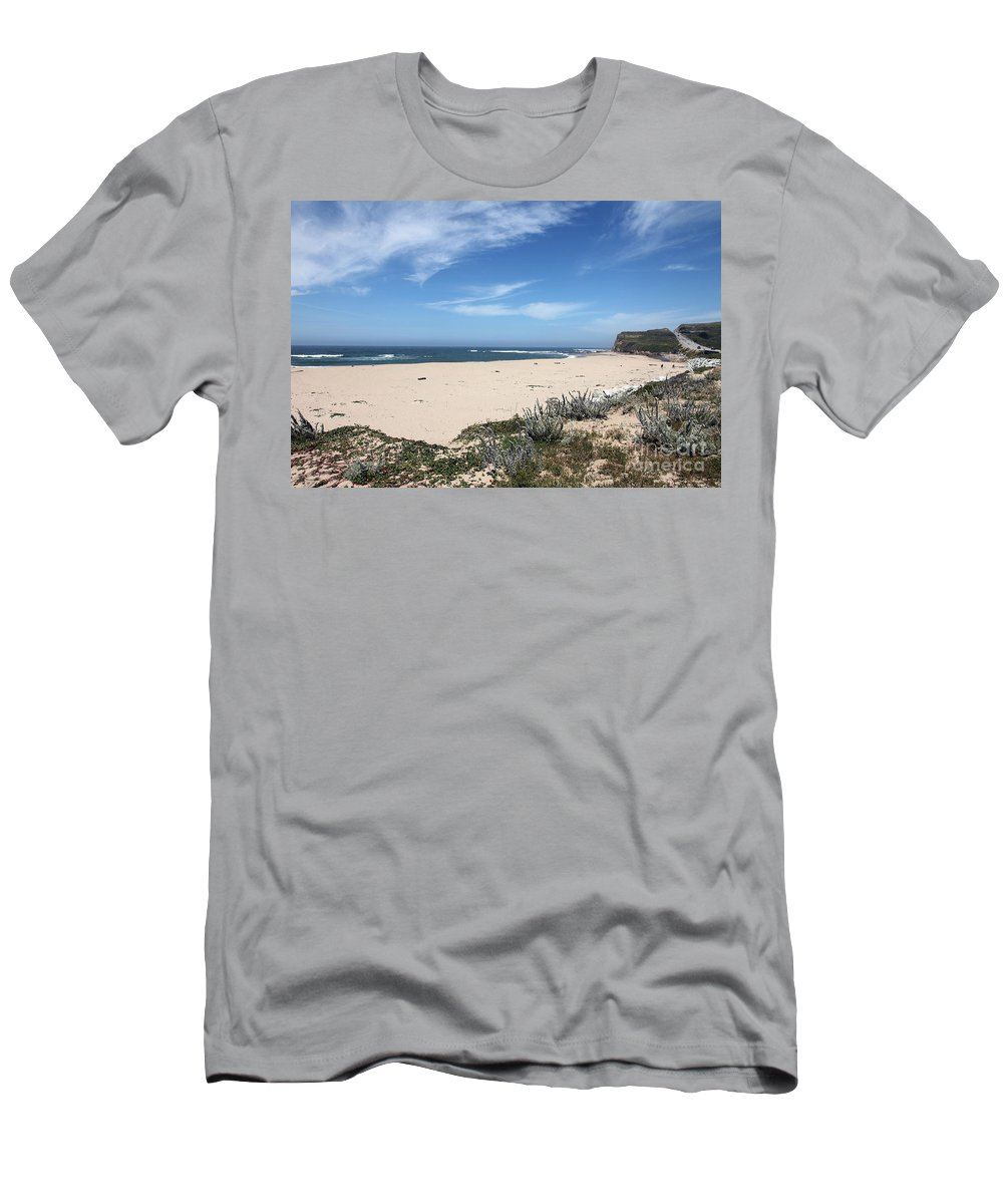 Beaches Men's T-Shirt (Athletic Fit) featuring the photograph Scott Creek Beach Hwy 1 by Amanda Barcon