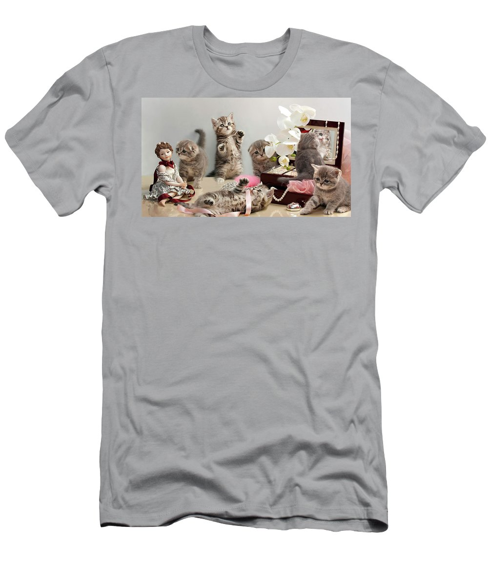Scottish Fold Cats Men's T-Shirt (Athletic Fit) featuring the photograph Scottish Fold Cats by Evgeniy Lankin