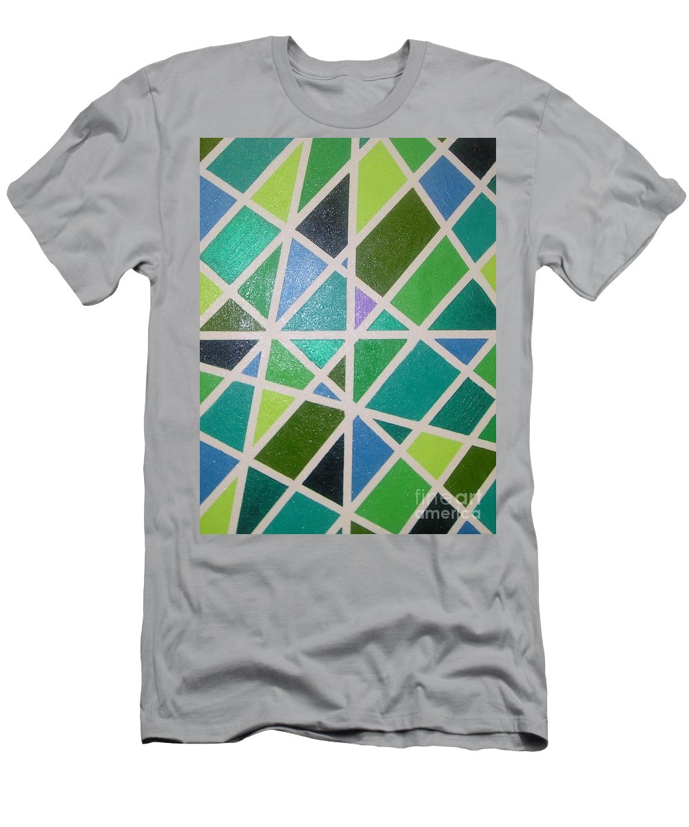 Green Men's T-Shirt (Athletic Fit) featuring the painting Sea Glass Revisited by Maria Bonnier-Perez