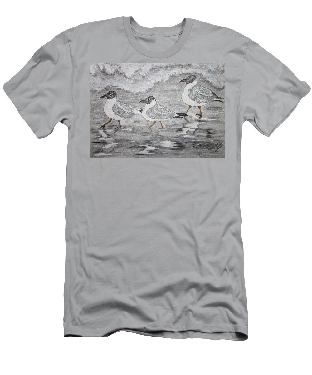 Sea Gulls Men's T-Shirt (Athletic Fit) featuring the painting Sea Gulls Dodging The Ocean Waves by Kathy Marrs Chandler