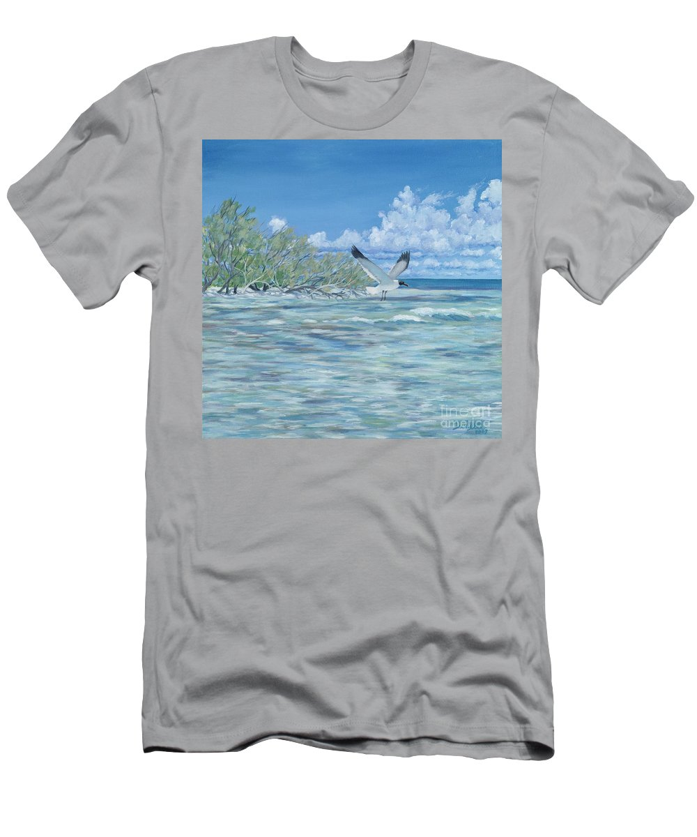 Seascape Men's T-Shirt (Athletic Fit) featuring the painting Seablue by Danielle Perry