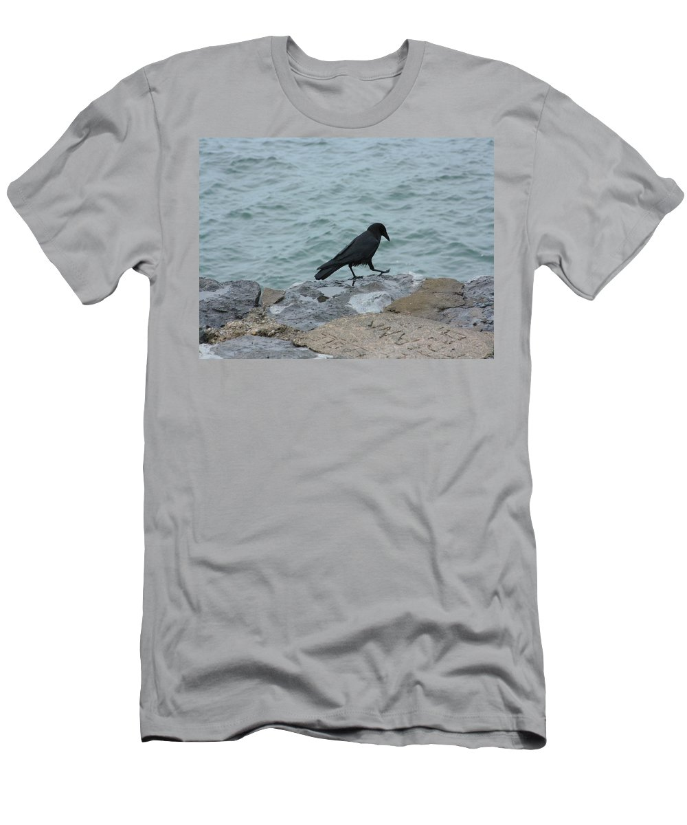 Crow By Water Men's T-Shirt (Athletic Fit) featuring the photograph Seafaring Crow by Gothicrow Images