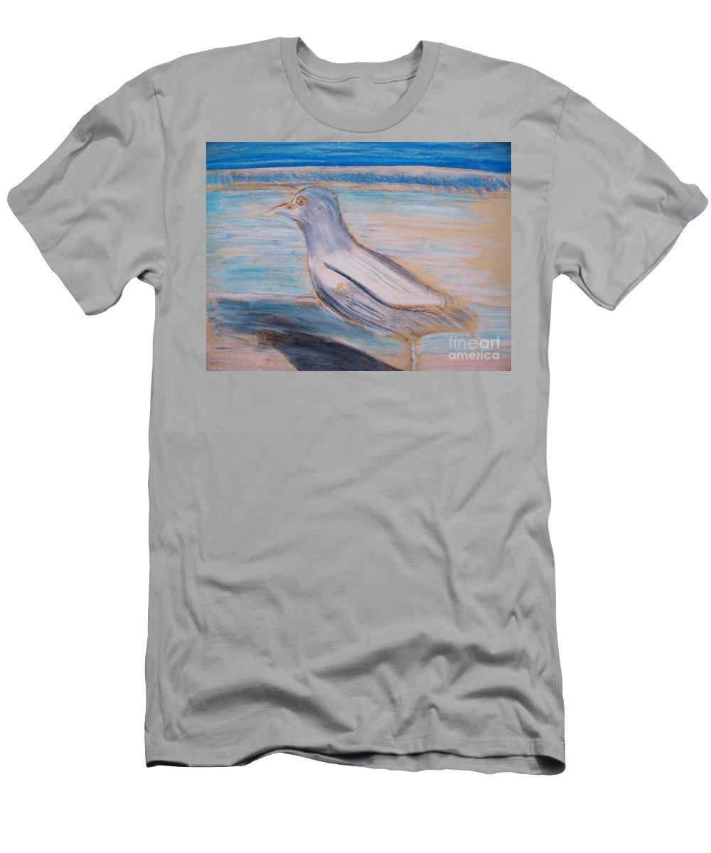 Seagull Men's T-Shirt (Athletic Fit) featuring the painting Seagull On Seashore by Eric Schiabor