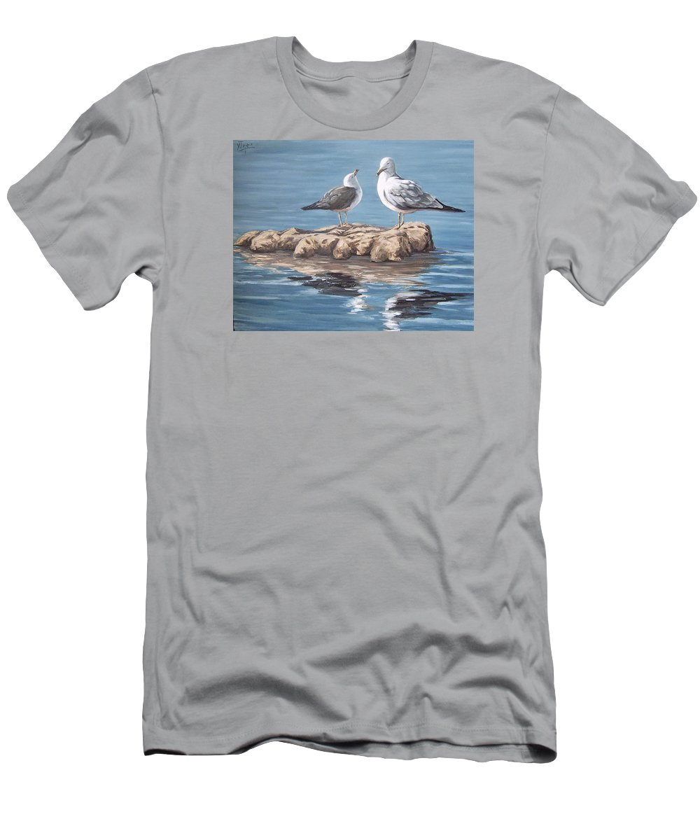 Seagulls Sea Seascape Water Bird Men's T-Shirt (Athletic Fit) featuring the painting Seagulls In The Sea by Natalia Tejera