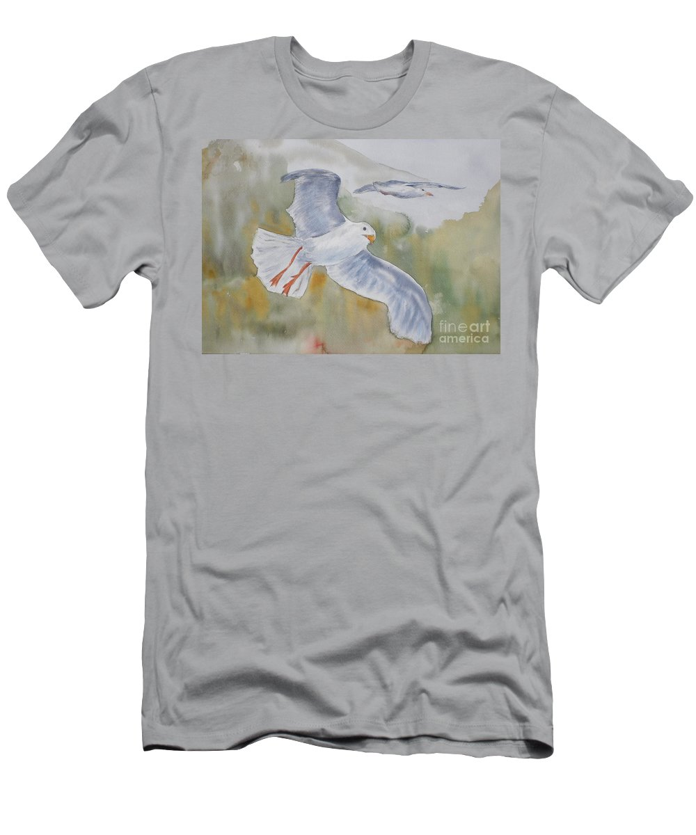 Souring T-Shirt featuring the painting Seagulls Over Glacier Bay by Vicki Housel