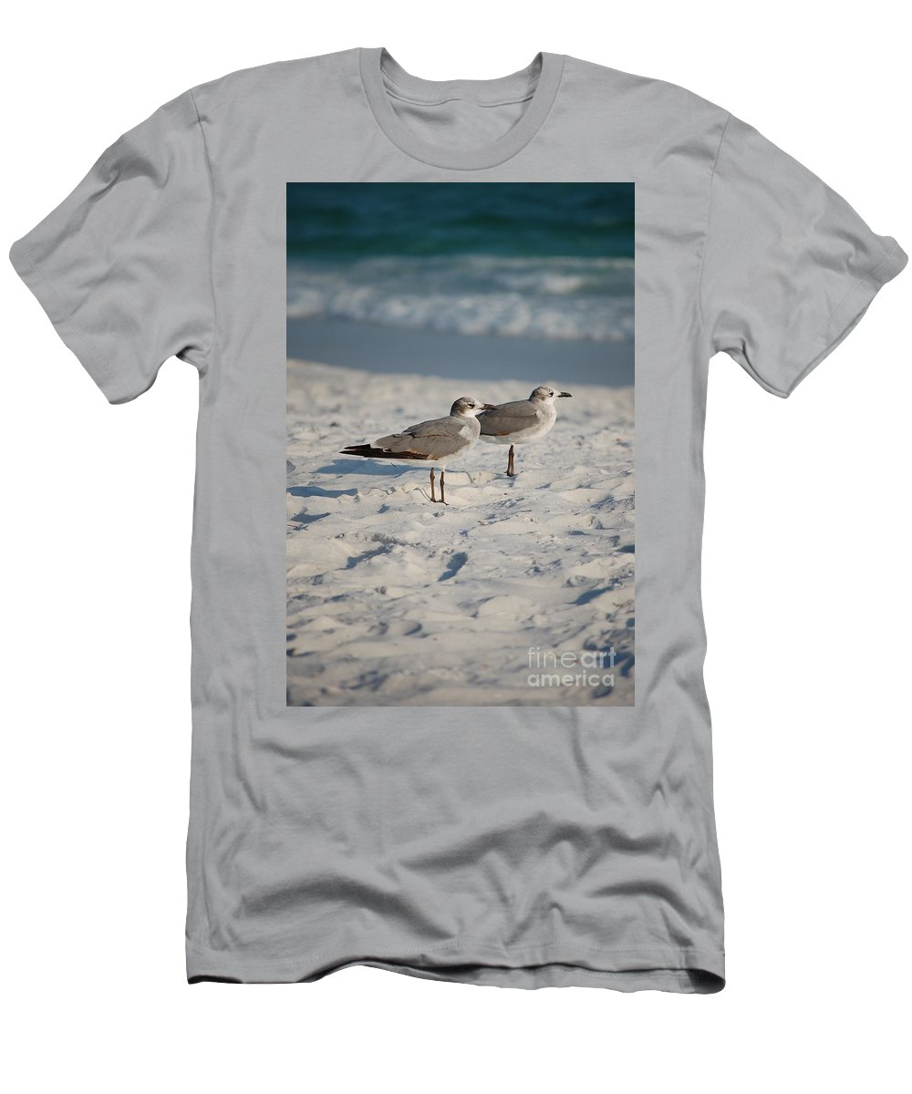Seagulls Men's T-Shirt (Athletic Fit) featuring the photograph Seagulls by Robert Meanor