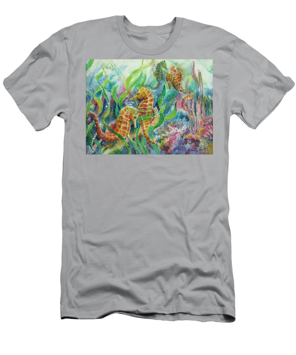 Seahorse Men's T-Shirt (Athletic Fit) featuring the painting Seahorses Three by Deborah Younglao