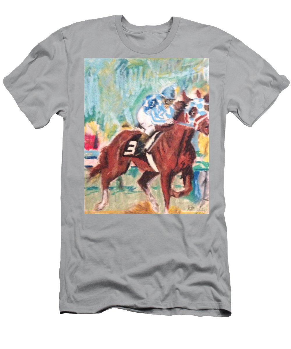 Secretariat Men's T-Shirt (Athletic Fit) featuring the pastel Secretariat 1973 by Michael Martone