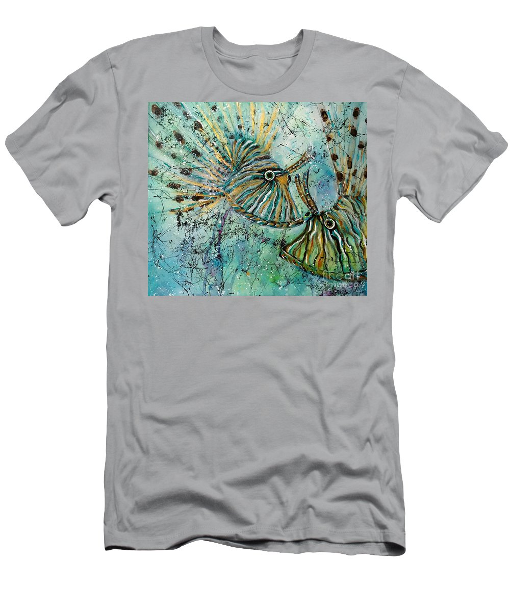 Iionfish T-Shirt featuring the painting Seeing Eye To Eye by Midge Pippel