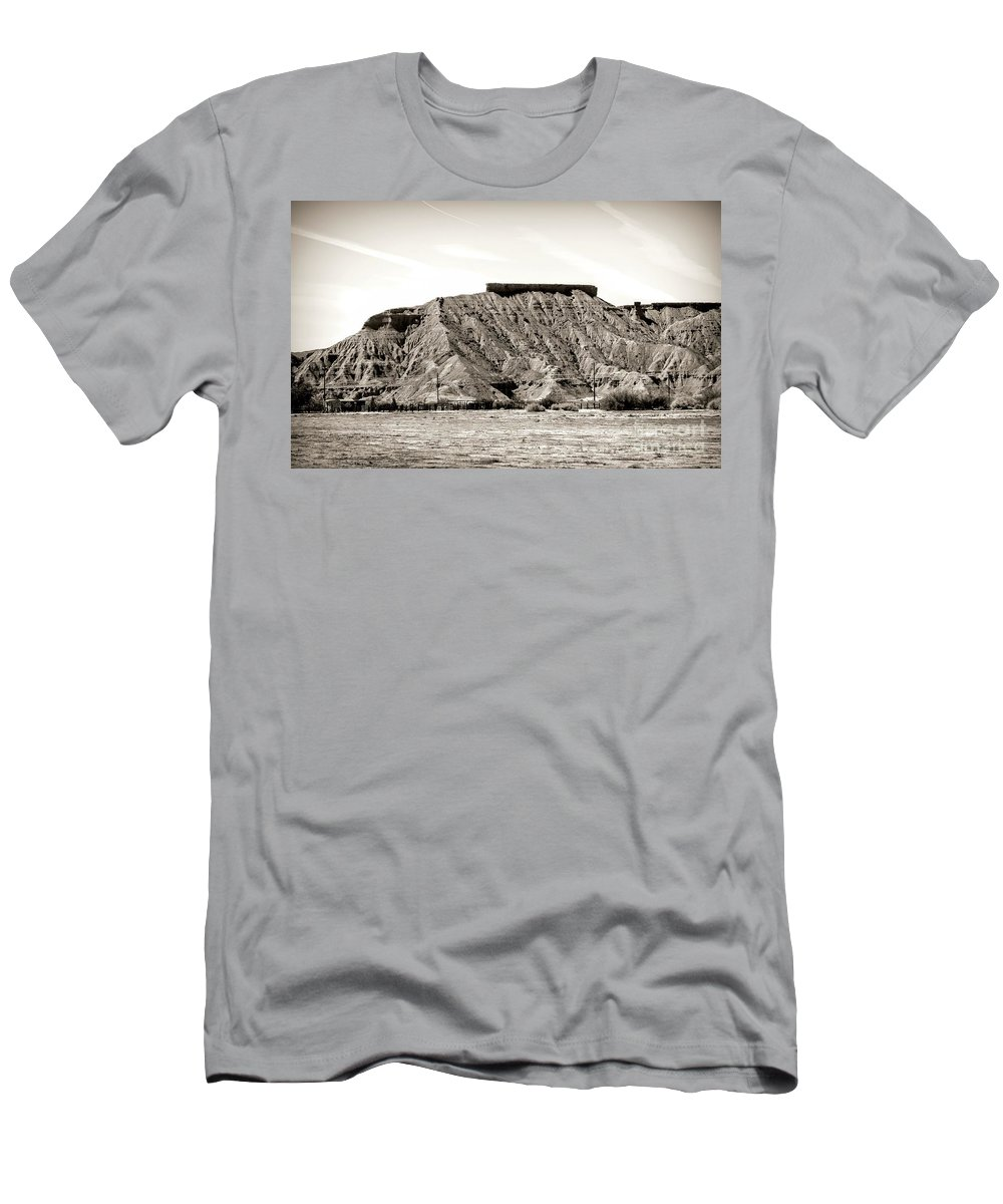 Valley Of Fire Men's T-Shirt (Athletic Fit) featuring the photograph Sepia Tones Nature Landscape Nevada by Chuck Kuhn