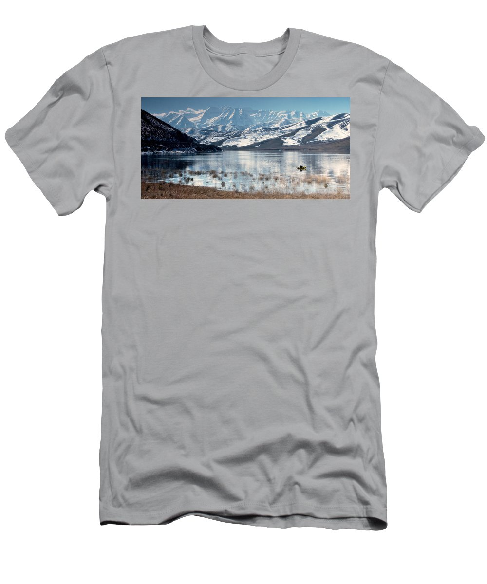 Landscape Men's T-Shirt (Athletic Fit) featuring the photograph Serene Paddling by Scott Sawyer