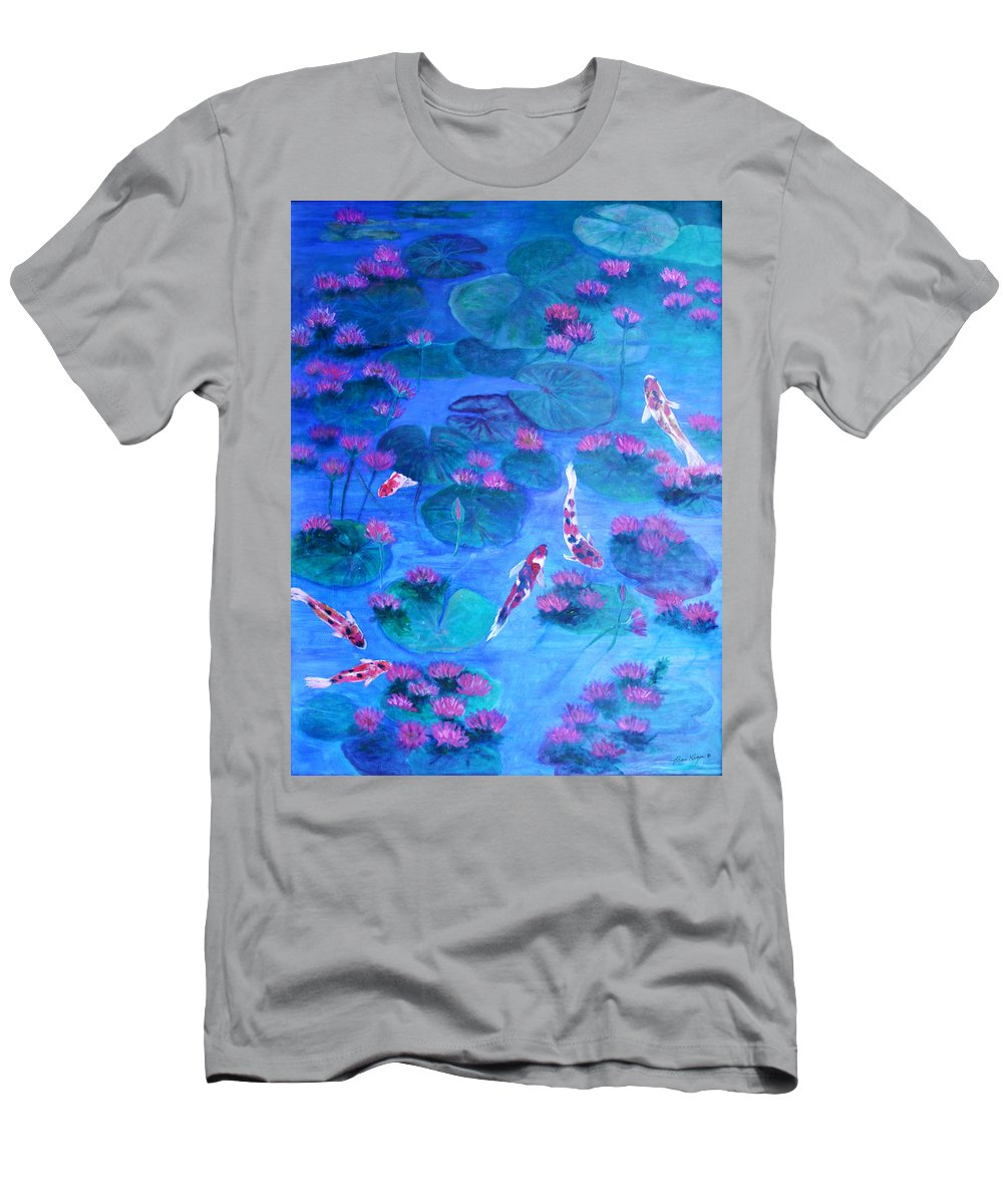 Lily Pads T-Shirt featuring the painting Serene Pond by Ben Kiger
