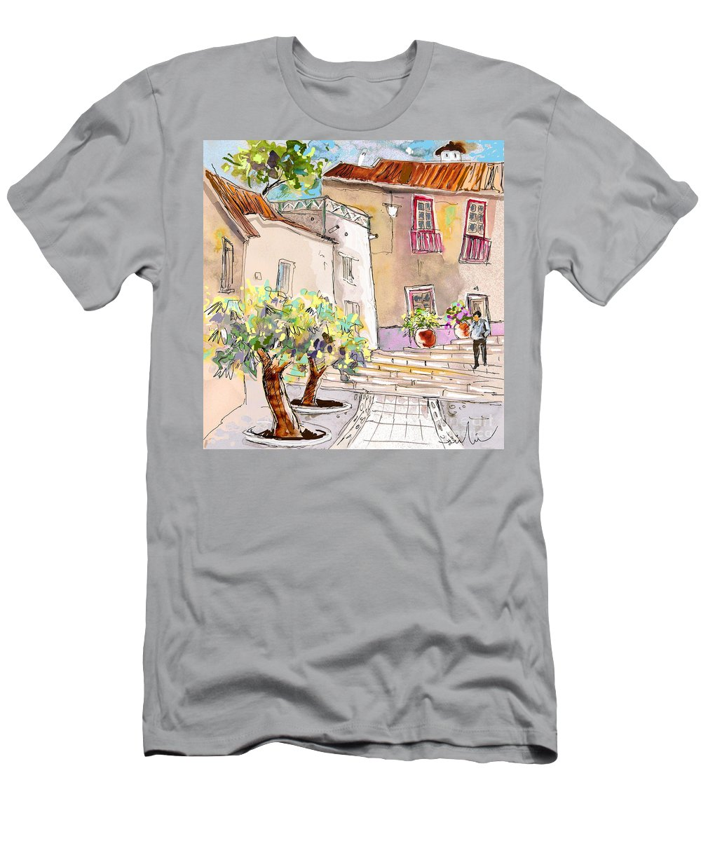 Portugal Paintings Men's T-Shirt (Athletic Fit) featuring the painting Serpa Portugal 36 by Miki De Goodaboom
