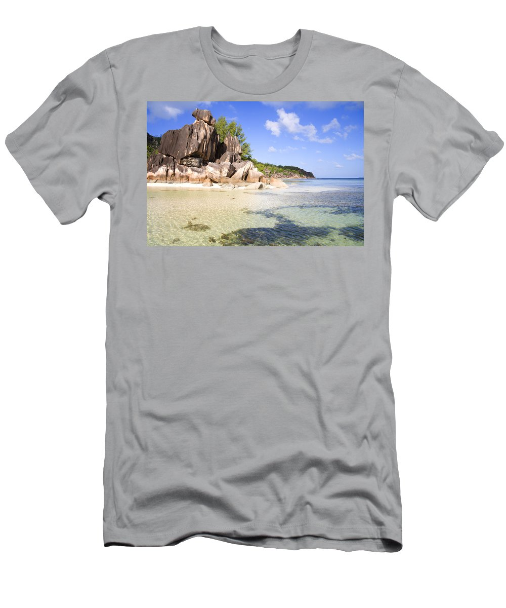 Beach Men's T-Shirt (Athletic Fit) featuring the photograph Seychelles Rocks by Alexey Stiop