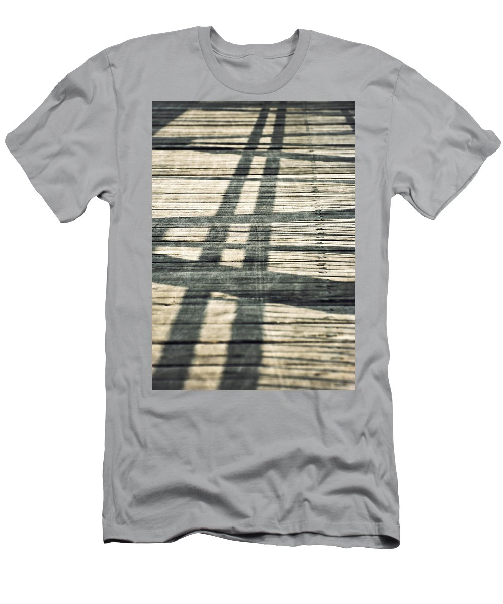 Construction Men's T-Shirt (Athletic Fit) featuring the photograph Shadows On A Wooden Board Bridge by Jozef Jankola