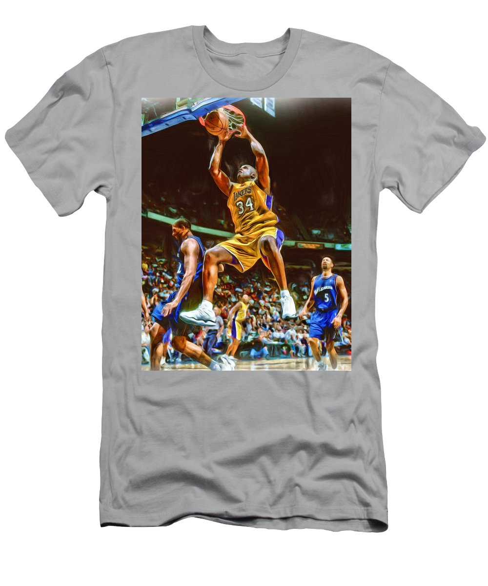 size 40 a0f6f 8b434 Shaquille O'neal Los Angeles Lakers Oil Art Men's T-Shirt (Athletic Fit)