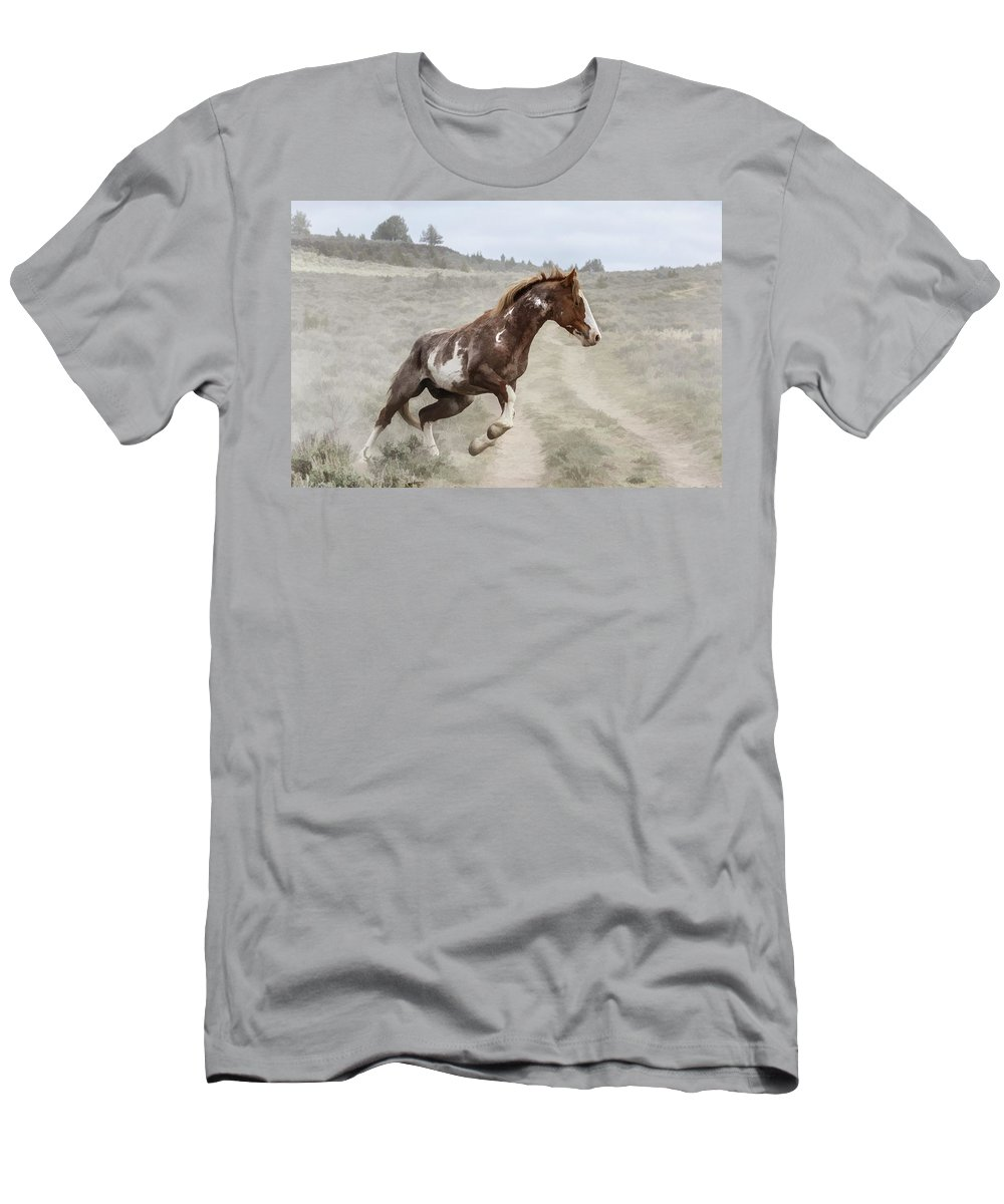 Sharp Turn Men's T-Shirt (Athletic Fit) featuring the photograph Sharp Turn by Wes and Dotty Weber