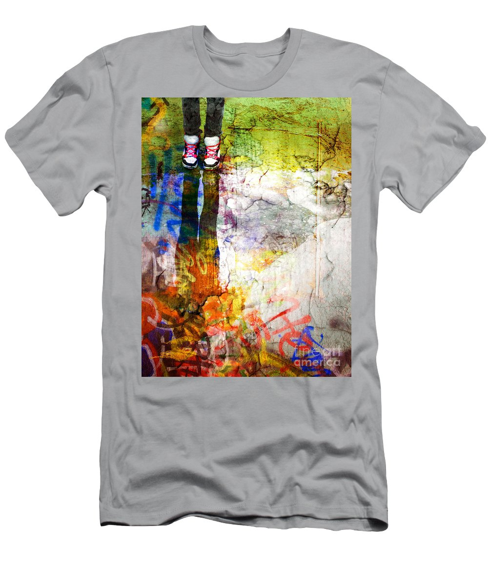 Shoes Men's T-Shirt (Athletic Fit) featuring the photograph She Lives In A Box Of Paint by Tara Turner