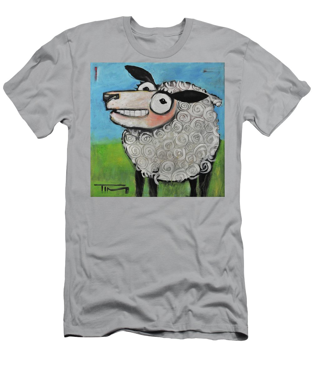 Sheep Men's T-Shirt (Athletic Fit) featuring the painting Sheep by Tim Nyberg