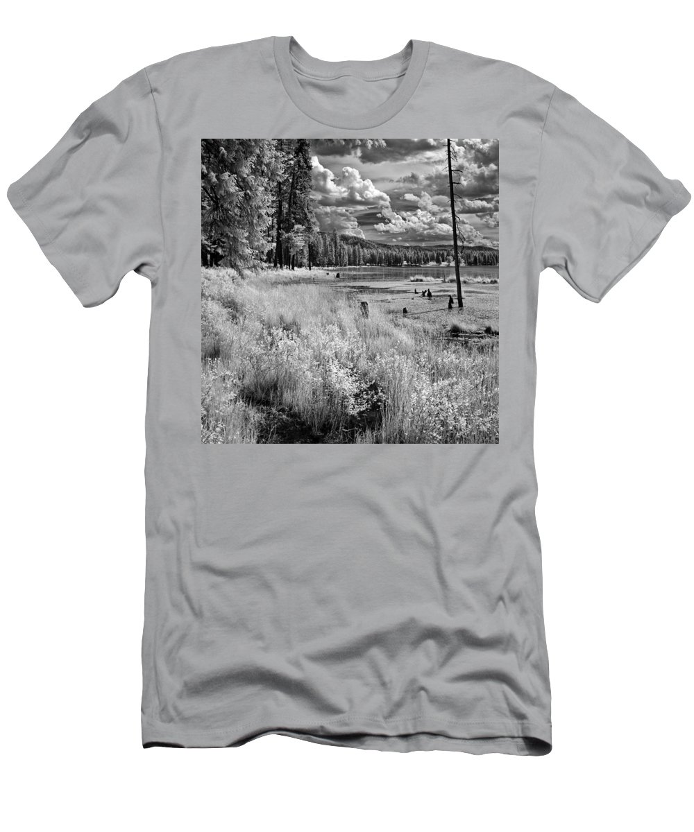 B&w Infrared Of Shepard Lake Men's T-Shirt (Athletic Fit) featuring the photograph Shepard Lake by Lee Santa