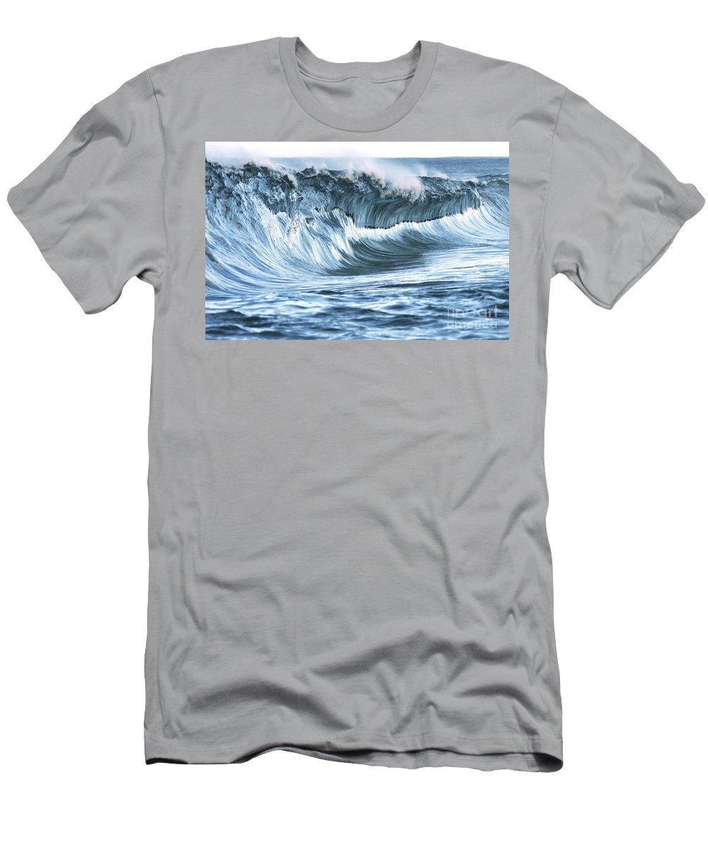 Aqua Men's T-Shirt (Athletic Fit) featuring the photograph Shiny Wave by Vince Cavataio - Printscapes