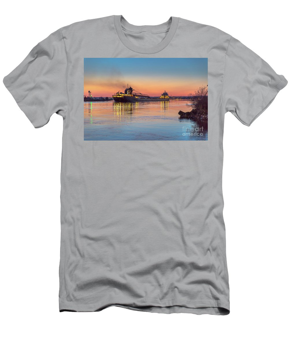 Ship Men's T-Shirt (Athletic Fit) featuring the photograph Ship Kaye Barker Reflections -8368 by Norris Seward