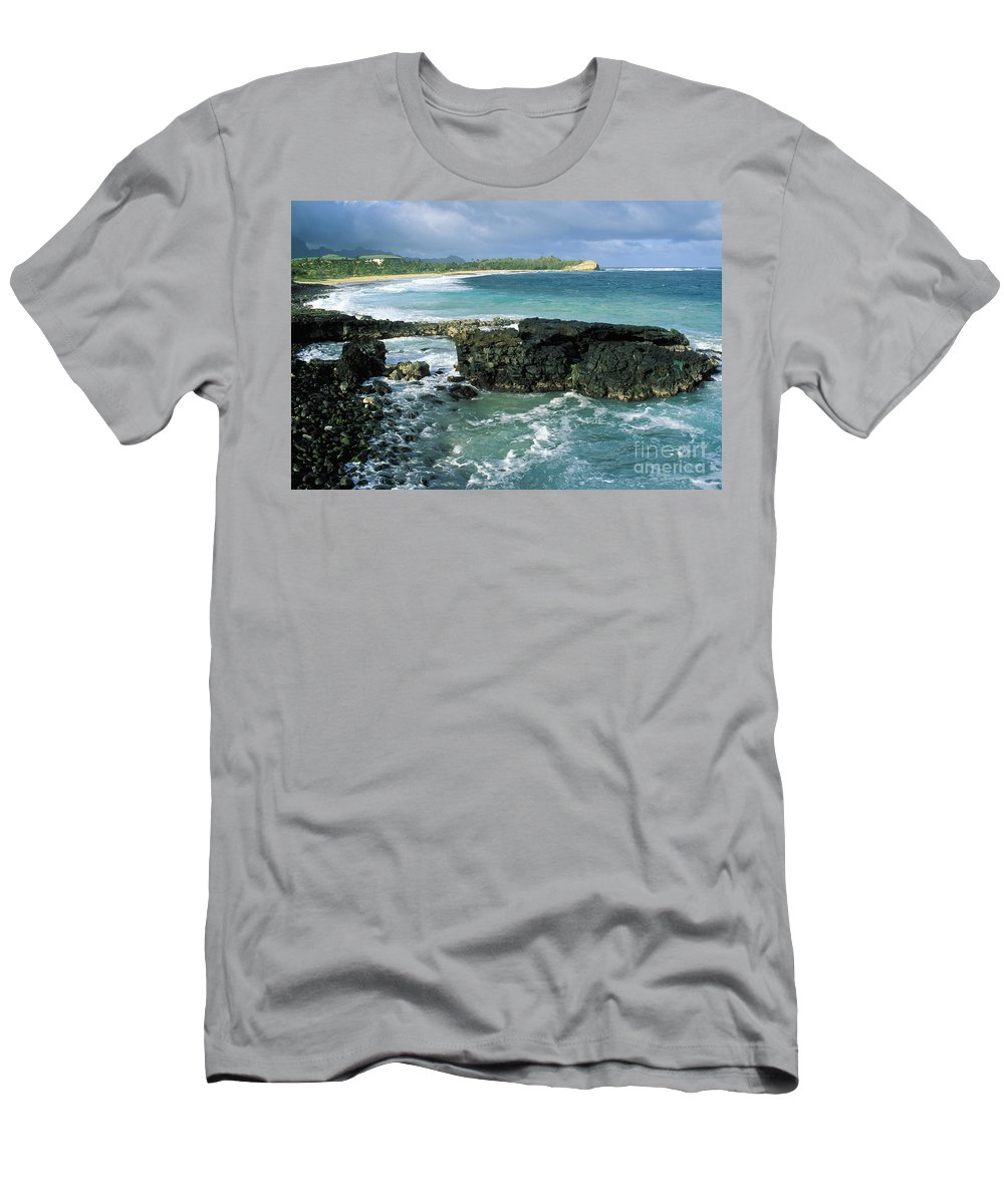 Beach Men's T-Shirt (Athletic Fit) featuring the photograph Shipwreck Beach by Peter French - Printscapes