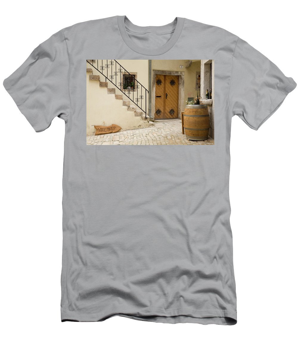 Croatia Men's T-Shirt (Athletic Fit) featuring the photograph Shop In Rovinj by Ian Middleton