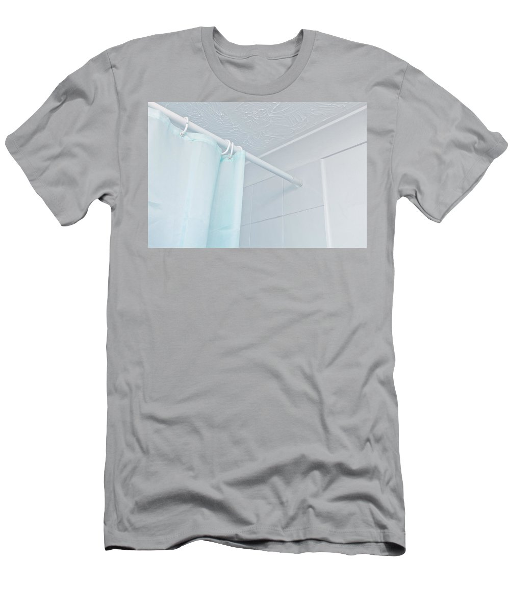 Bathroom Men's T-Shirt (Athletic Fit) featuring the photograph Shower Curtain by Tom Gowanlock
