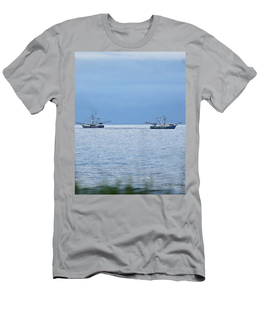 Ocean Men's T-Shirt (Athletic Fit) featuring the digital art Shrimping In The Open Seas by DigiArt Diaries by Vicky B Fuller