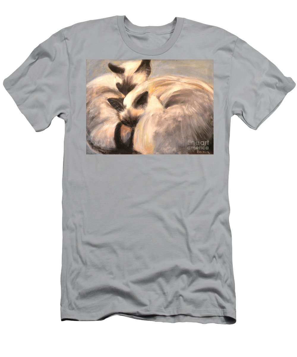 Cat Men's T-Shirt (Athletic Fit) featuring the painting Siamese Lovers by Susan A Becker