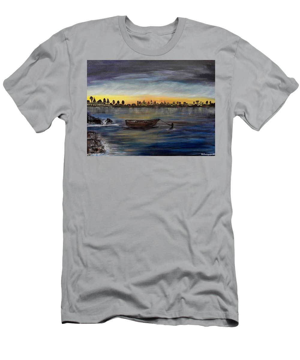 Landscape/seascape Men's T-Shirt (Athletic Fit) featuring the painting Silent Night At Sea by Corina Lupascu