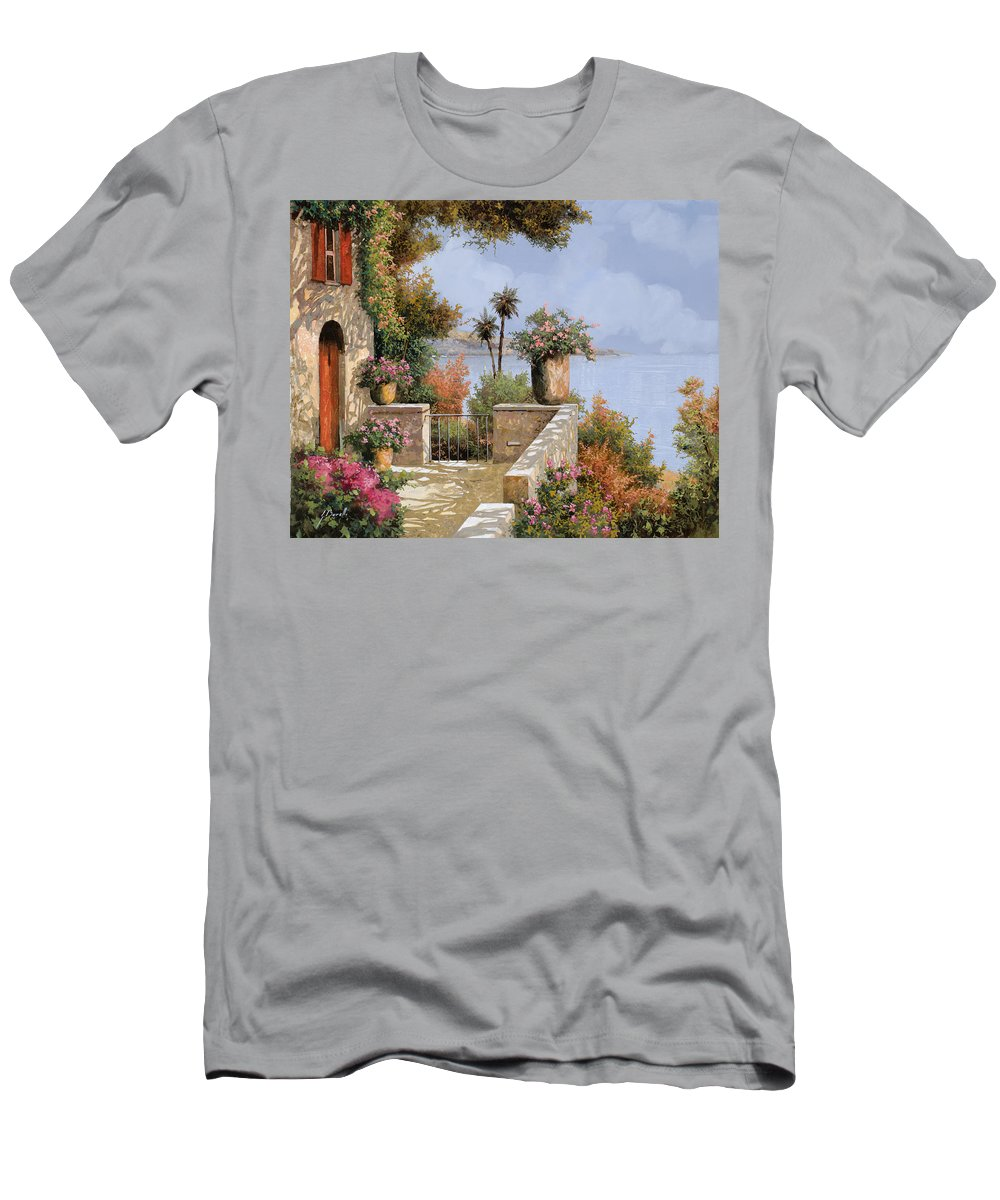 Seascape Men's T-Shirt (Athletic Fit) featuring the painting Silenzio by Guido Borelli
