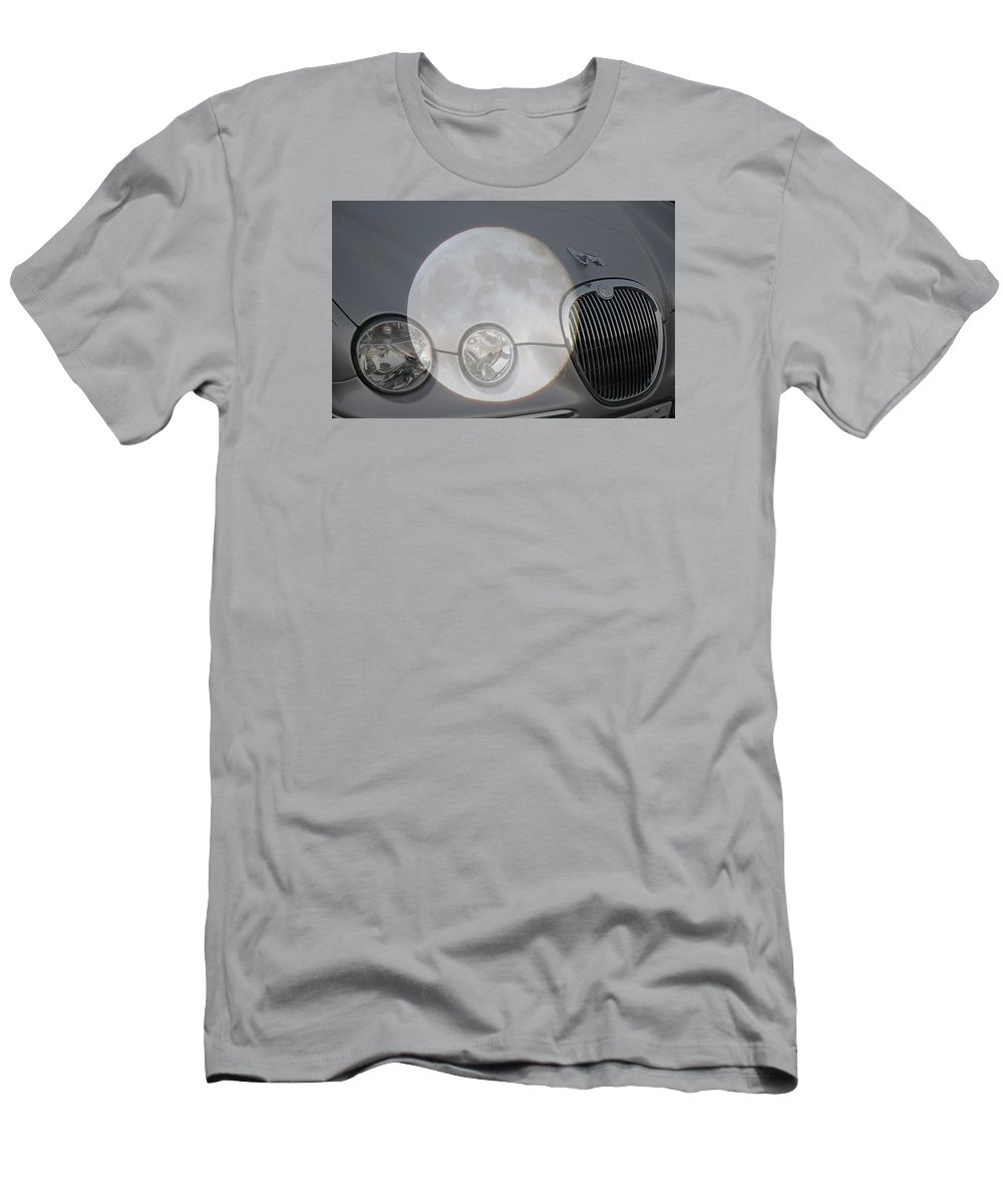 Car Men's T-Shirt (Athletic Fit) featuring the photograph Silver Moon Jaguar by J R  Seymour
