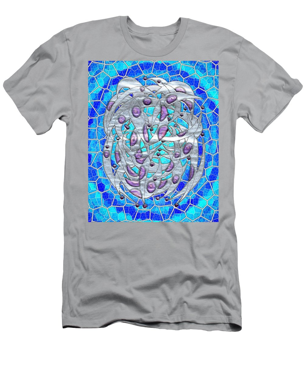 Abstract Men's T-Shirt (Athletic Fit) featuring the digital art Silver On Blue Stained Glass by Mark Sellers