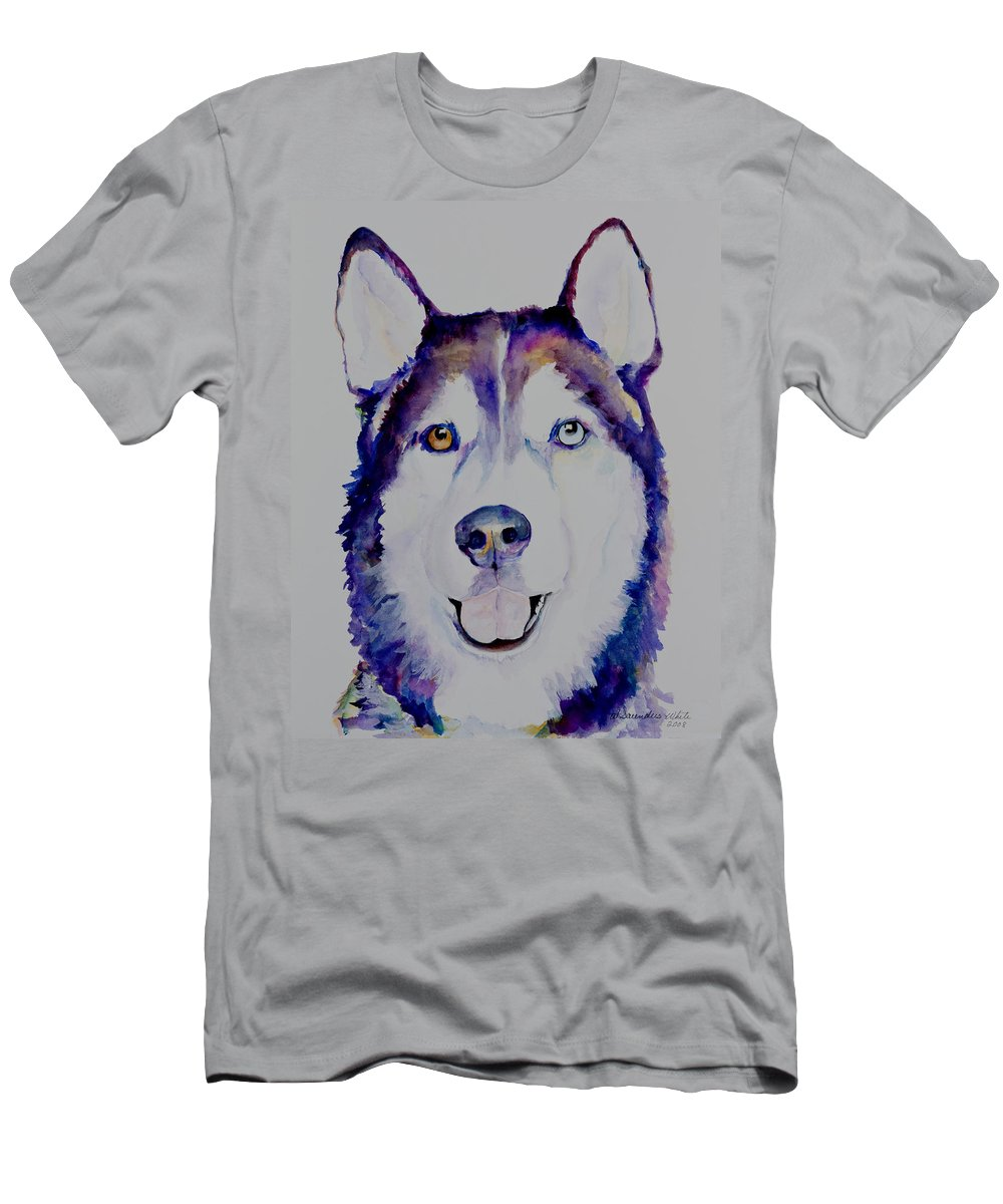 Siberian Husky Men's T-Shirt (Athletic Fit) featuring the painting Simba by Pat Saunders-White