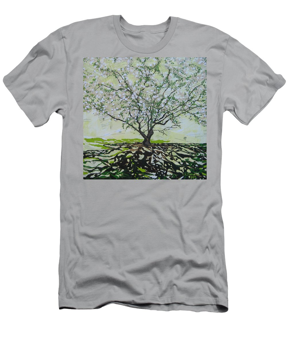 Apple Tree Men's T-Shirt (Athletic Fit) featuring the painting Sincerely-the Curator by Leah Tomaino