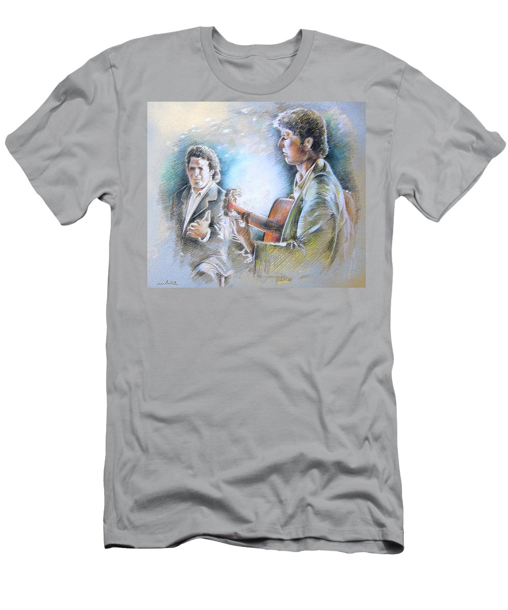 Music Men's T-Shirt (Athletic Fit) featuring the painting Singer And Guitarist Flamenco by Miki De Goodaboom