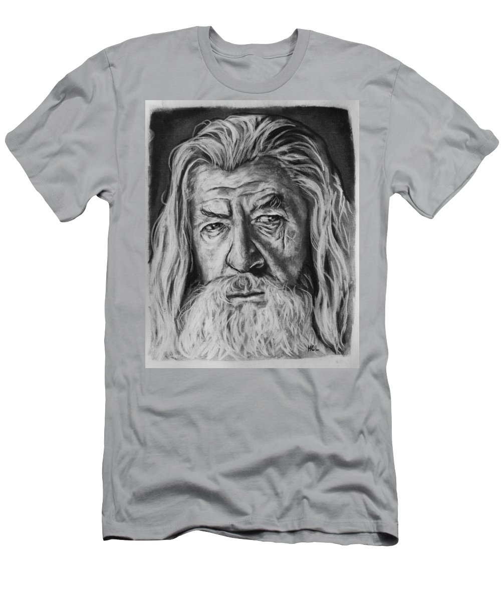 Lord Of The Rings Men's T-Shirt (Athletic Fit) featuring the drawing Sir Ian Mckellen As Gandalf The Grey by Harrison Larsen