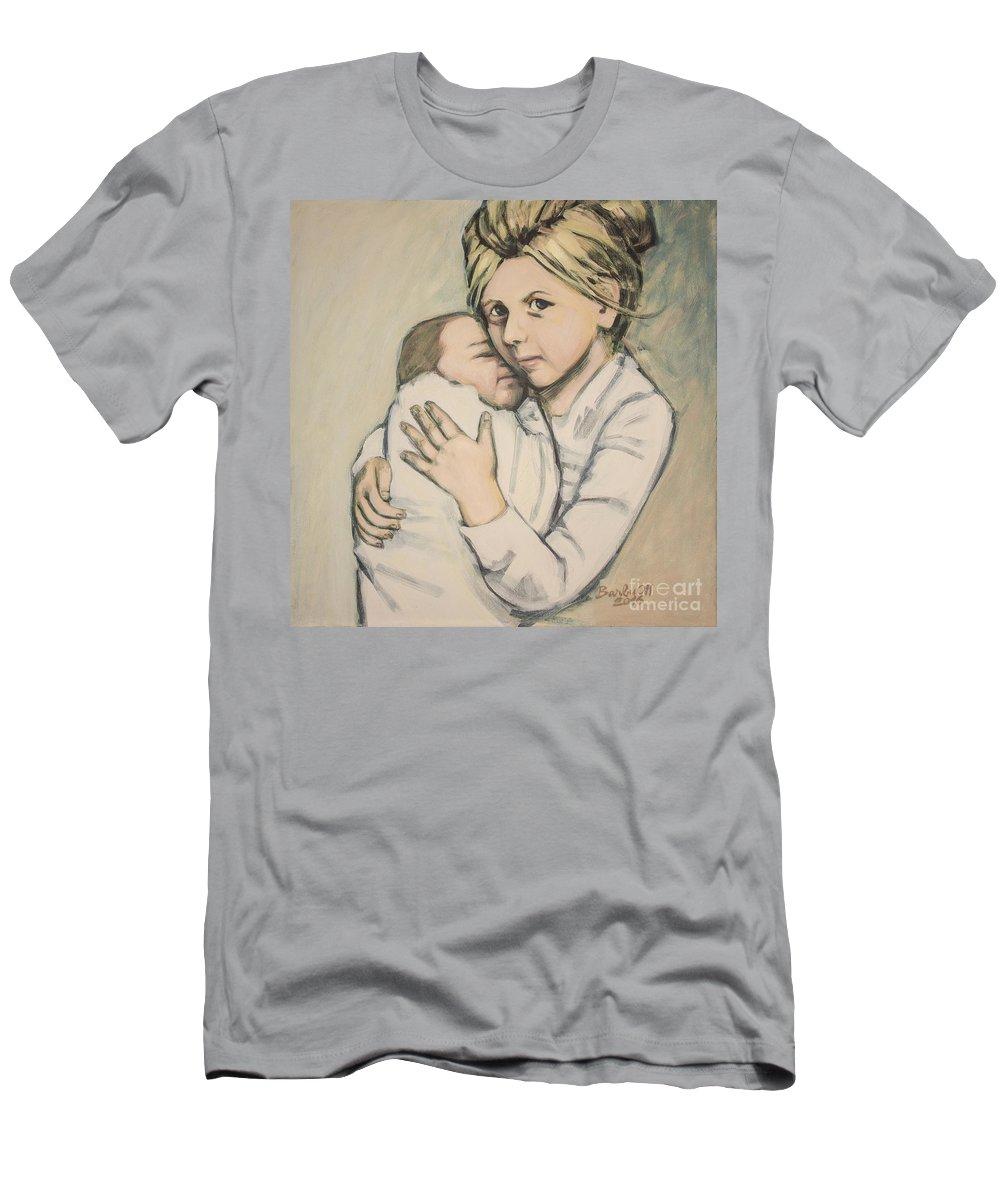 Girl Men's T-Shirt (Athletic Fit) featuring the painting Sisters by Olimpia - Hinamatsuri Barbu