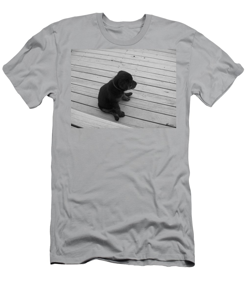 Puppy Dog Baby Relaxing Patience Black And White Photography Cute Men's T-Shirt (Athletic Fit) featuring the photograph Sit And Think by Andrea Lawrence