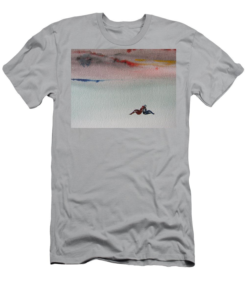 Landscape Men's T-Shirt (Athletic Fit) featuring the painting Six Seasons Dance Six by Marwan George Khoury